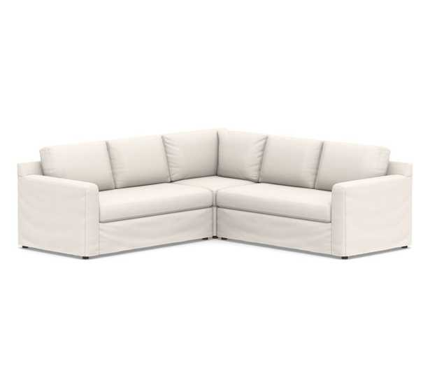 Shasta Square Arm Slipcovered 3-Piece L-Shaped Corner Sectional - Pottery Barn