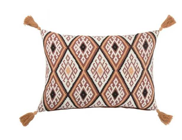 """MNP15 - Traditions Made Modern Pillows, Red Ochre & Cement - 14""""x20"""" - Polly Fill - Collective Weavers"""
