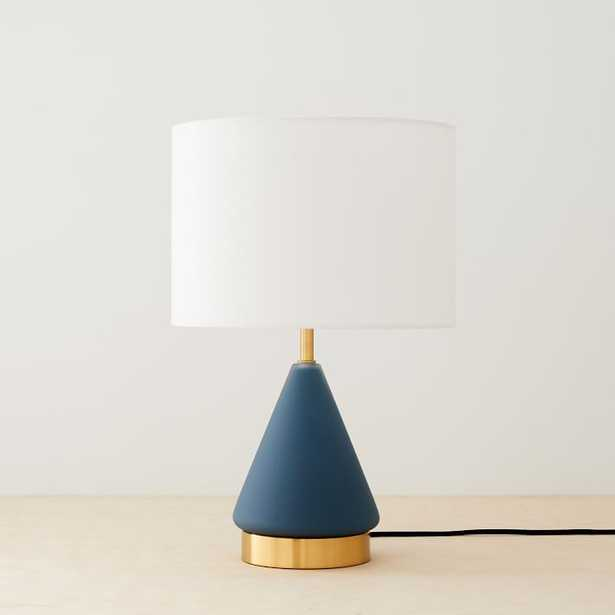 Metalized Glass Table Lamp + USB, Small, Petrol Blue, Antique Brass, Set of 2 - West Elm