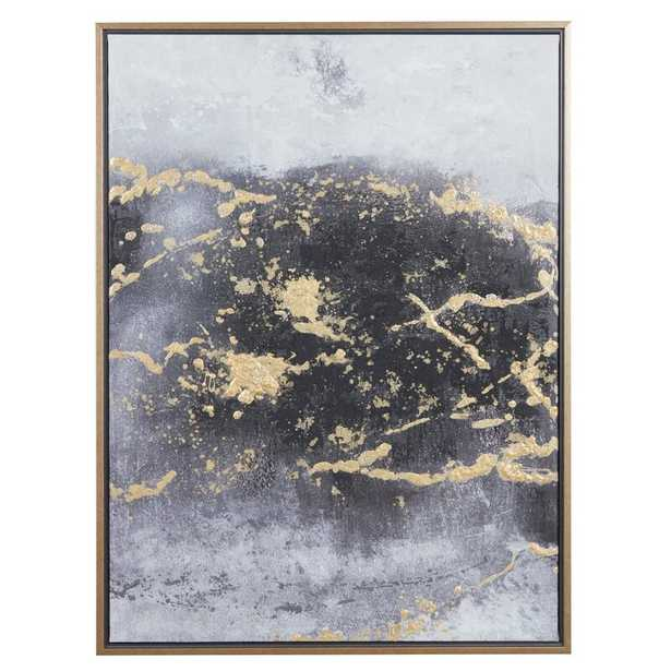 """Rectangular Dark Grey And Gold Foil Abstract Canvas Wall Art With Gold Wood Frame, 30"""" X 40"""" - Picture Frame Painting on Canvas - Wayfair"""