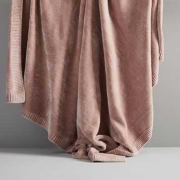 Luxe Chenille Throw, Dusty Blush - West Elm