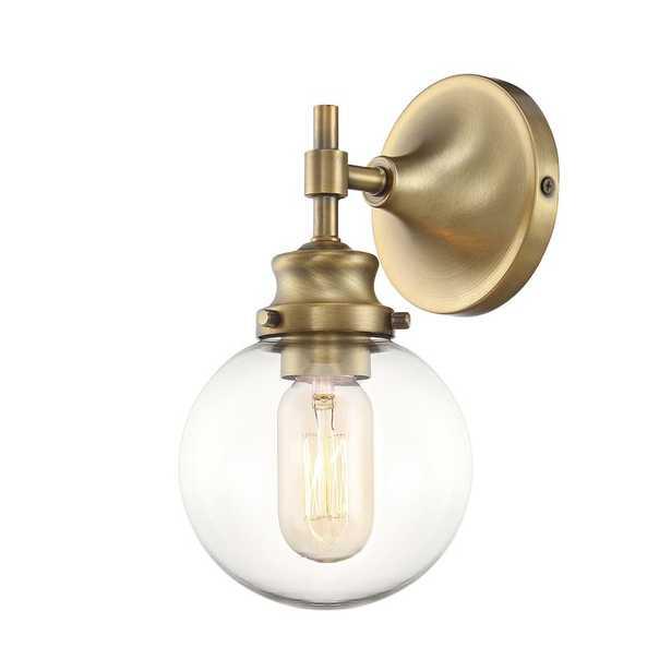 Adley 1-Light Armed Sconce, Natural Brass - Wayfair