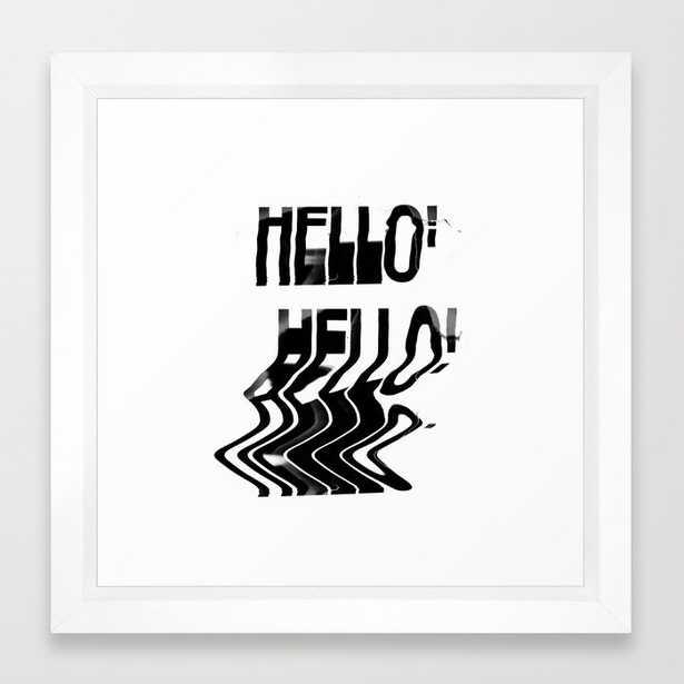 """Hello Glitch Scan - 12"""" sq. - vector white - Society6"""