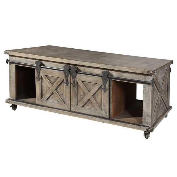 Magnus Wheel Coffee Table with Storage - Wayfair