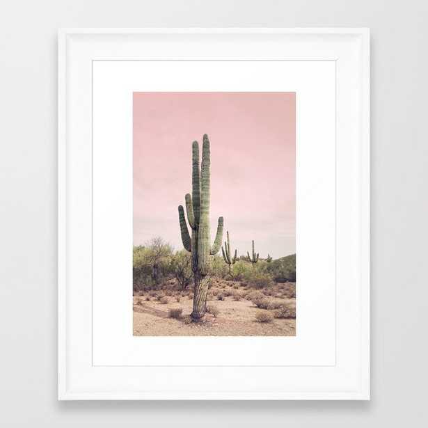 Blush Sky Cactus  Framed - Scoop White 10 x 12 - Society6