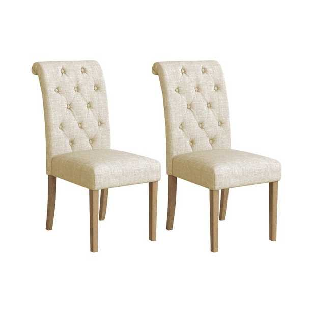 Charlotte Solid Wood Button Tufted Side Chair set of 2 - Wayfair