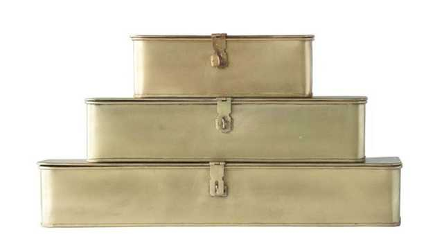 Set of 3 Decorative Metal Boxes in Brass Finish design by BD Edition - Burke Decor
