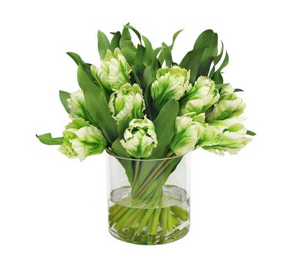 Faux Tulip In Clear Cylinder Vase - Pottery Barn