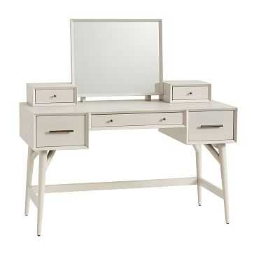 Mid-Century Standard Desk Vanity, Pebble - West Elm