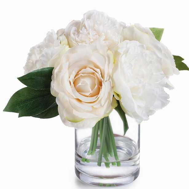 Silk Hydrangea Rose and Peony Mixed Floral Arrangements in Vase - Wayfair