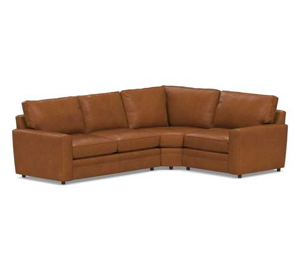 Pearce Square Arm Leather 3-Piece Sectional with Wedge - Pottery Barn