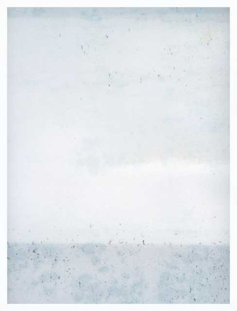 "Overast - Soft Blues - 25.5x33.5""  - White Wood Frame no mat - Artfully Walls"