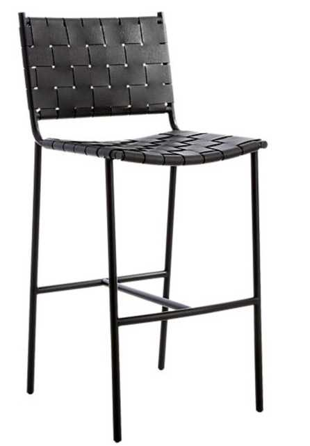 """Woven Black Leather Counter Stool 30"""" - CB2"""