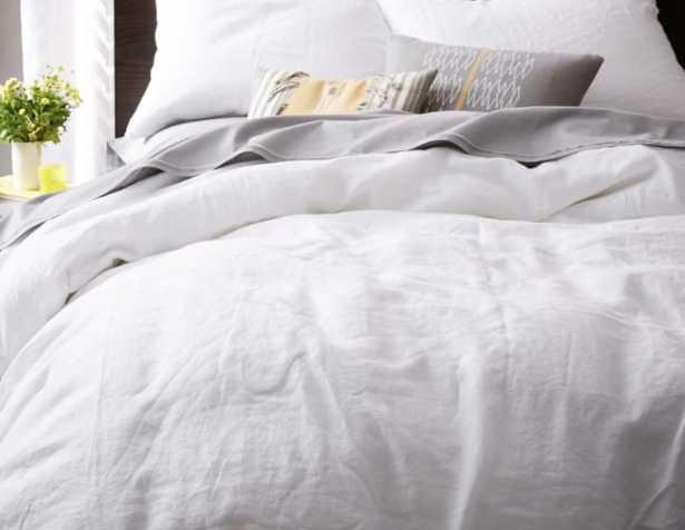 Belgian Flax Linen Duvet Cover, Full/Queen, White - West Elm