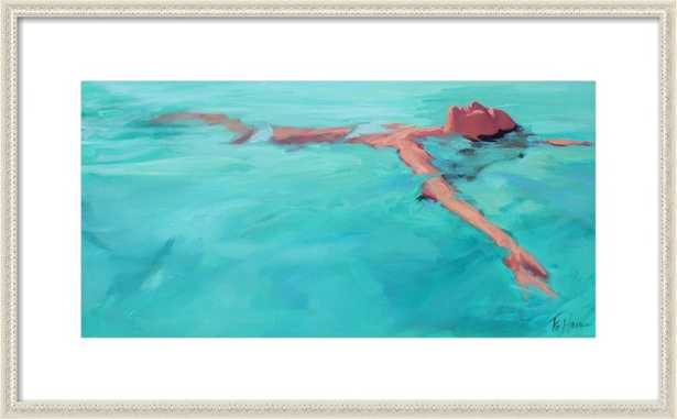 Summer Happiness by T.S. Harris with Ornate Antique White Wood Frame and Matte - 26x14 - Artfully Walls