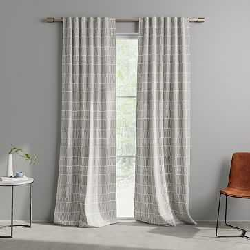 "Line Lattice Curtain, Stone Gray, Set of 2, 48""x84"" - West Elm"