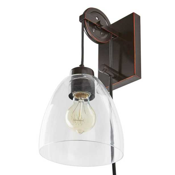 Home Decorators Collection 1-Light Oil Rubbed Bronze Clear Glass Plug-In Wall Sconce, Adjustable Pulley with Vintage LED Bulb - Home Depot
