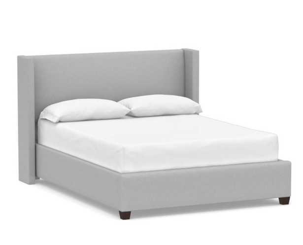 Elliot Shelter Upholstered Bed, California King, Brushed Crossweave Light Gray - Pottery Barn