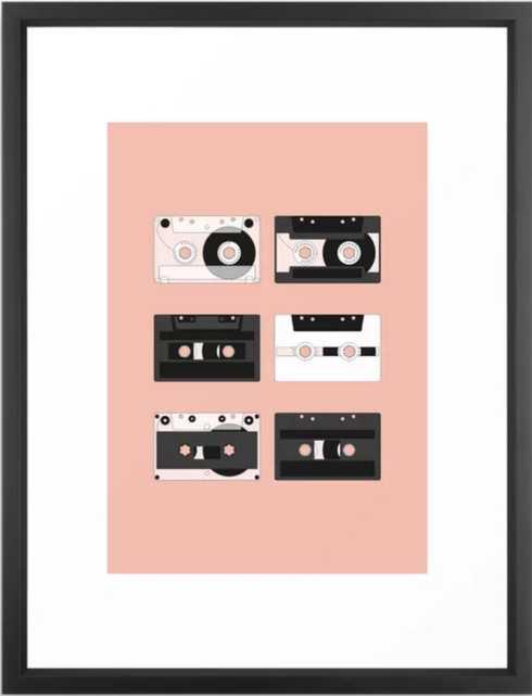 Cassette Pattern #3 Framed Art Print, 20 X 26, Vector Black - Society6