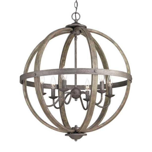 Keowee Collection 24.13 in. 6-Light Artisan Iron Orb Chandelier with Elm Wood Accents - Home Depot