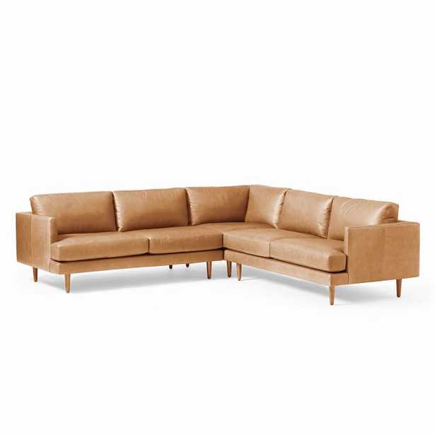 Haven Loft Set 03: Left Arm Sofa, Corner, Right Arm Sofa, Trillium, Saddle Leather, Nut, Pecan - West Elm