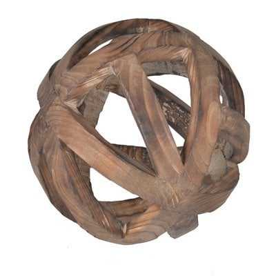 Brown Decorative Wood Ball Sculpture - Wayfair
