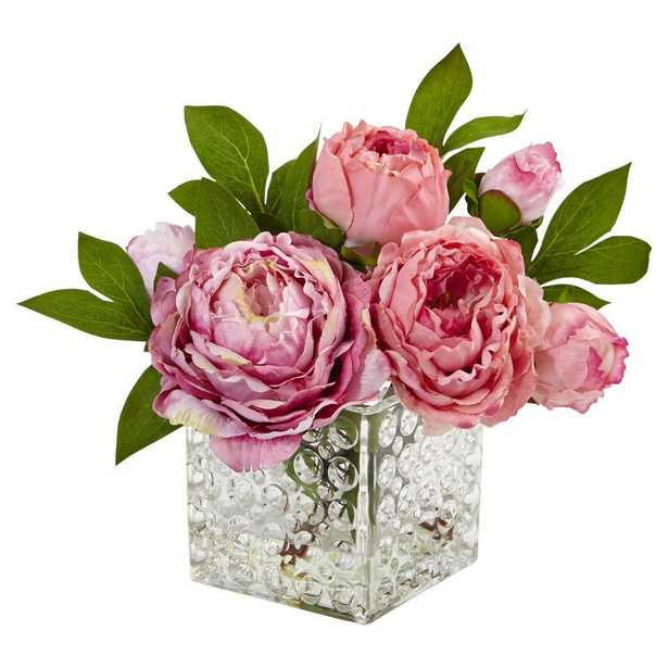 Peony in Glass Vase Pink - Fiddle + Bloom - Fiddle + Bloom