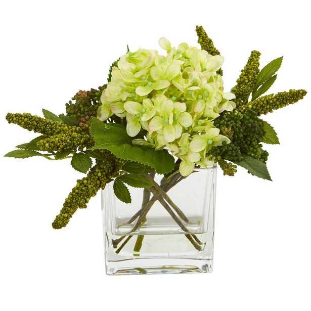 Hydrangea Artificial Arrangement in Vase (Set of 2) - Fiddle + Bloom