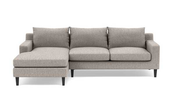 SLOAN Sectional Sofa with Left Chaise, Earth Cross Weave,  Painted Black Tapered Square Wood, 100'' - Interior Define