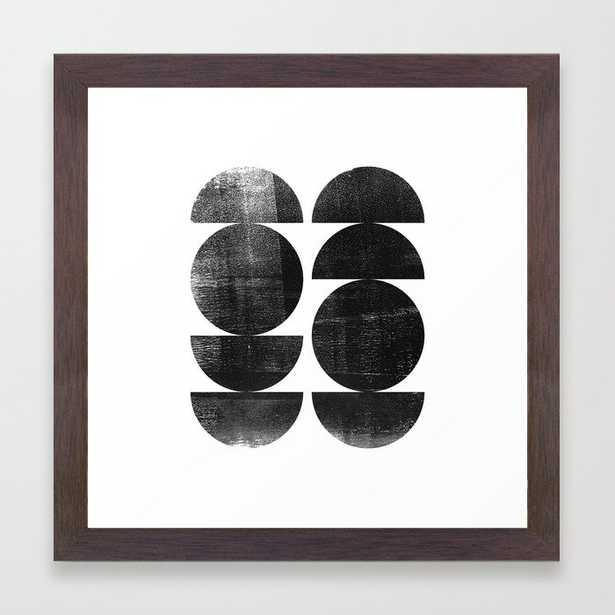 "Black and White Mid Century Modern Circles Abstract Framed Art Print, Walnut frame, 12"" x 12"" - Society6"