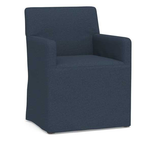 PB Classic Square Arm Slipcovered Long Dining Armchair, Gray Wash Frame, Brushed Crossweave Navy - Pottery Barn