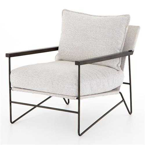 Dell Industrial Loft Grey Performance Upholstered Seat Steel Chair - Kathy Kuo Home