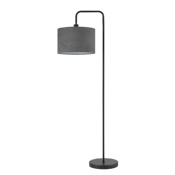 Barden 58 in. Black Floor Lamp with Dark Gray Velvet Shade - Home Depot