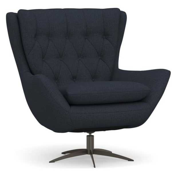 Wells Upholstered Swivel Armchair with Bronze Base, Polyester Wrapped Cushions, Performance Brushed Basketweave Indigo - Pottery Barn