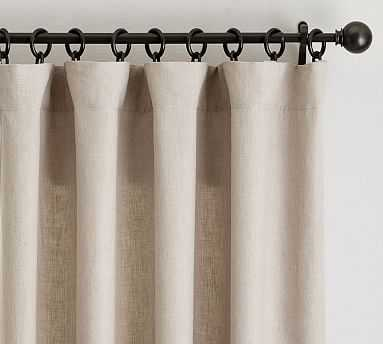 "Classic Belgian Flax Linen Drape, Cotton Lining, 50 x 96"", Dark Flax - Pottery Barn"