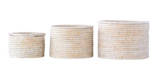 Set of 3 Natural Woven Seagrass Baskets with Lid by BD Edition - Burke Decor