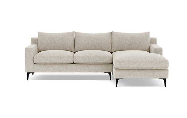 Sloan Chaise Sectional in Opal Fabric with matte black - Interior Define