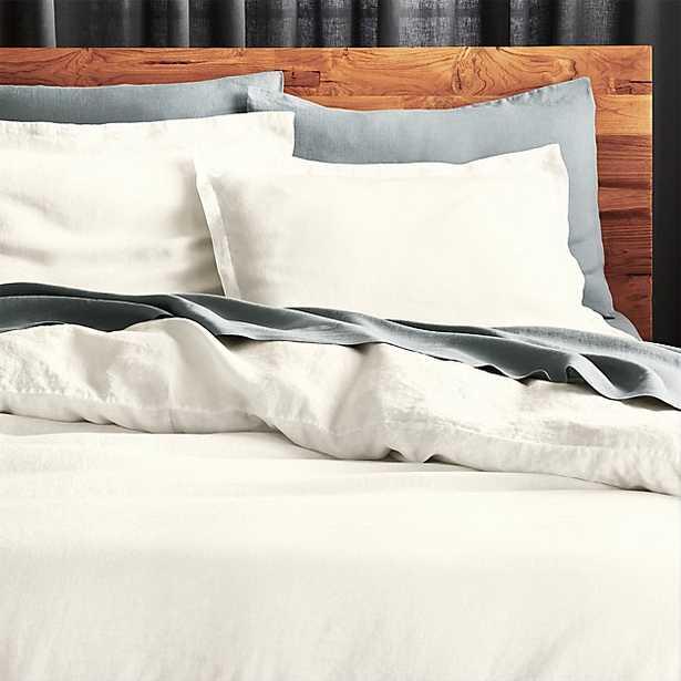 linen white king duvet cover - CB2