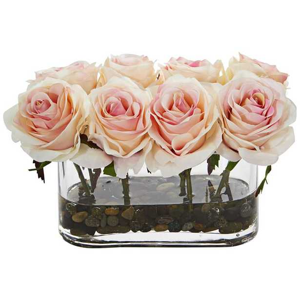 """Light Pink Blooming Roses 8 1/2""""W Faux Flowers in Glass Vase - Lamps Plus"""