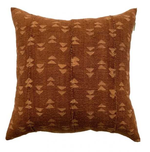 DOUBLE TRIANGLE MUD CLOTH PILLOW IN RUST - PillowPia