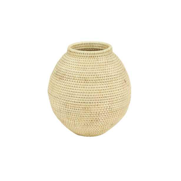 Litton Lane Large Decorative Handwoven Natural Beige Bamboo Vase - Home Depot