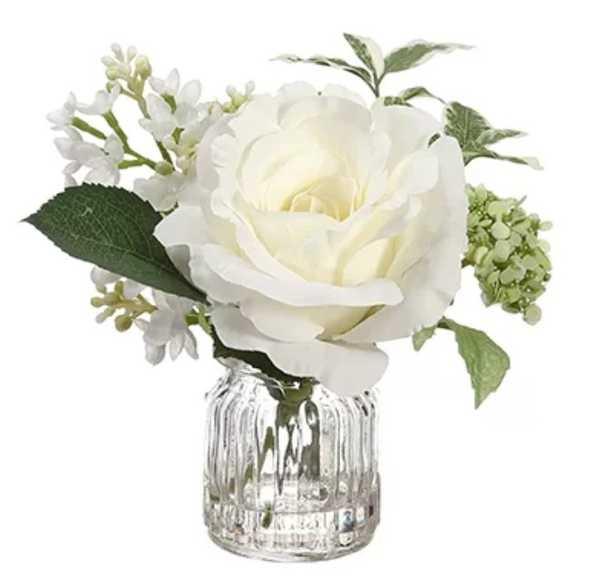 Rose and Lilac Floral Arrangement in Vase - Back in stock December 2018 - Wayfair