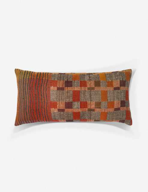 """Sienne Lumbar Pillow, Rust and Multi, ED Ellen DeGeneres Crafted by Loloi 27"""" x 12"""" - Lulu and Georgia"""