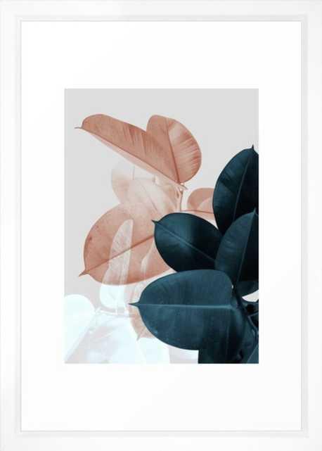 Blush & Blue Leaves Framed Art Print - vector white- 15x21 - Society6
