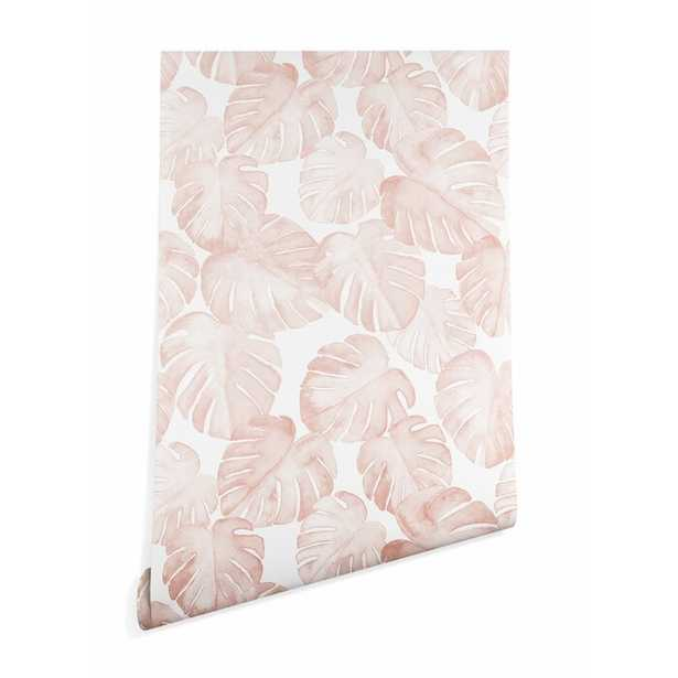 Pink Little Arrow Design Co Watercolor Monstera Peel and Stick Wallpaper Panel - Wayfair