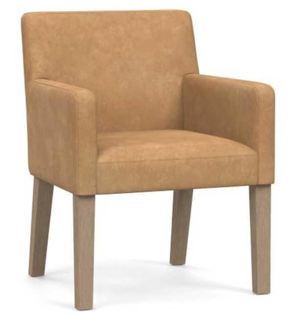 PB Classic Upholstered Leather Dining Armchair, Seadrift Frame, Nubuck Fawn - Pottery Barn