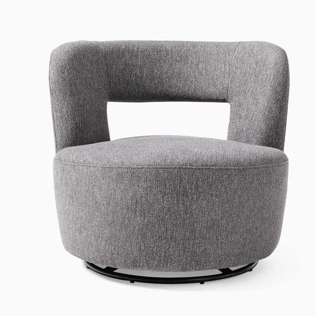 Millie Swivel Chair, Poly, Chenille Tweed, Pewter, Concealed Supports - West Elm