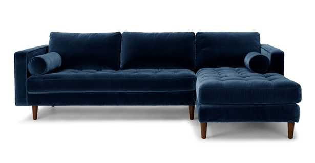 Sven Cascadia Blue Right Sectional Sofa - Article