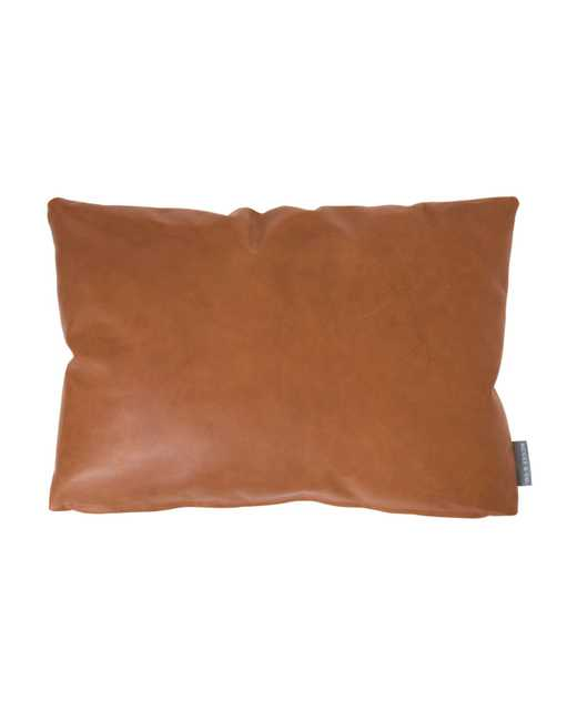 """COGNAC LEATHER PILLOW COVER WITH DOWN INSERT, 14"""" x 20"""" - McGee & Co."""