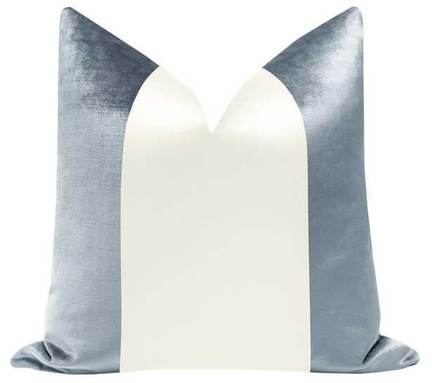 "PANEL Colorblock :: Faux Silk Velvet // Delft + Alabaster Silk - 22"" X 22"" - Little Design Company"